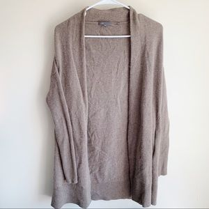 Vince 100% Cashmere Brown Open Front Cardigan